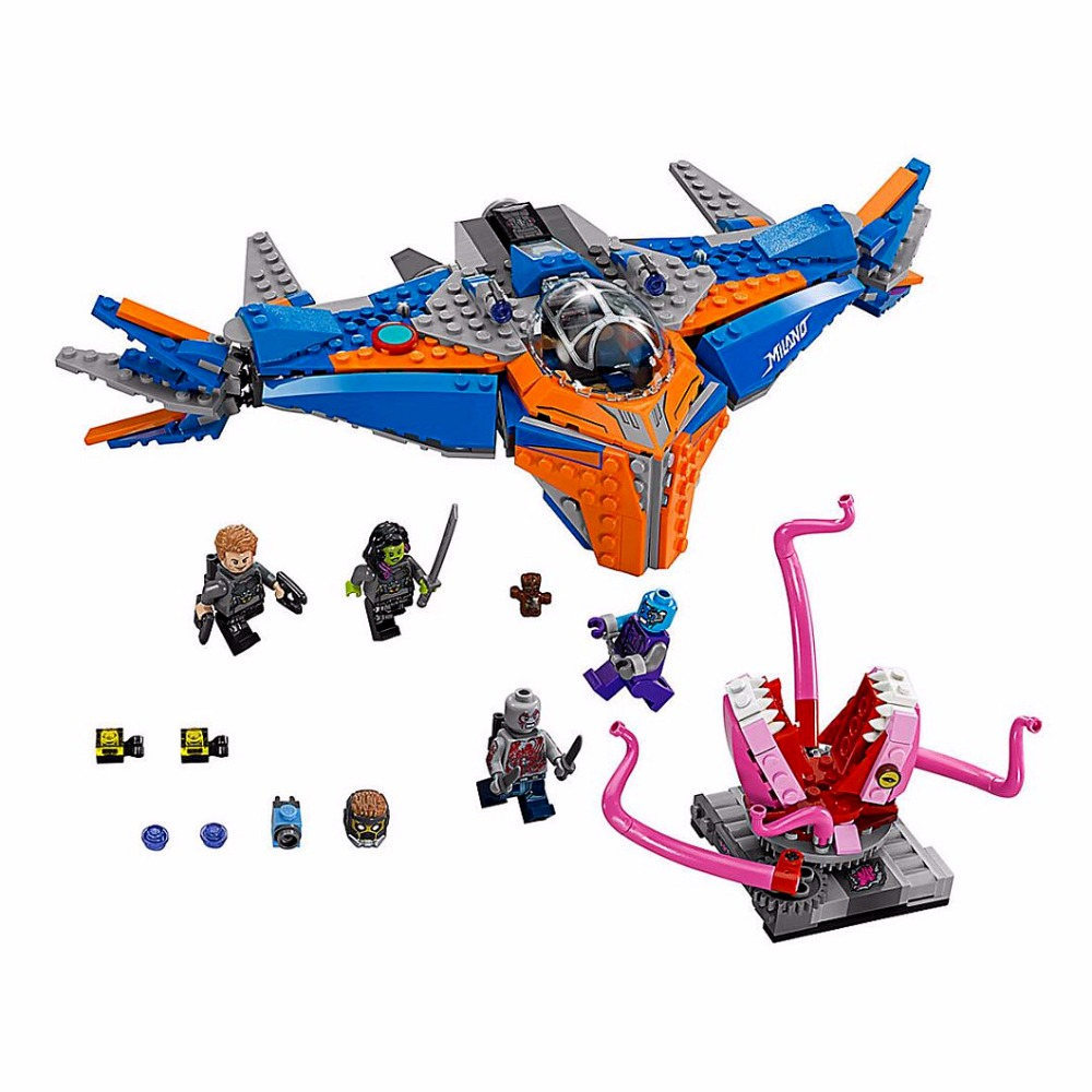 10748 481pcs Super Heroes Guardian Galaxy The Milano Vs Abilisk Model Building Blocks Toys BricksCompatible With Lepining
