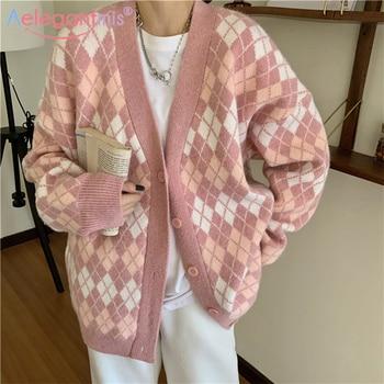 Aelegantmis Vintage Argyle Sweater Cardigan Women Pink Knitted Sweaters Vest Loose Casual Plaid Sleeveless Jumpers Female Kawaii 1