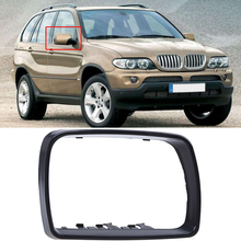 MagicKit Mirror For BMW E53 X5 2000-2006 Side Door Rearview Mirror Trim Ring Frame Mirror Cover Cap Black Car Housing Part right pair of side mirror glass heated 51167039598 for bmw x5 e53 2000 2006