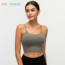 Colorvalue New Quick Dry Padded Fitness Bras Crop Tops Women Solid Vest-Type Nylon Yoga Workout Sports with Removable Pads