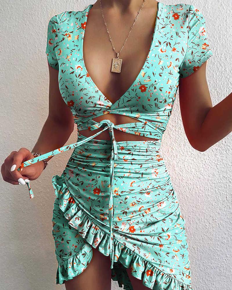Cryptographique imprimé fleuri mode cravate Wrap Mini robe 2020 été vacances volants robe d'été froncé femmes robe à manches courtes