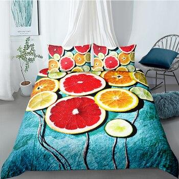 Grapefruit Bedding Set Creative Design 3D Fresh High End Duvet Cover King Queen Twin Full Single Double Unique Design Bed Set