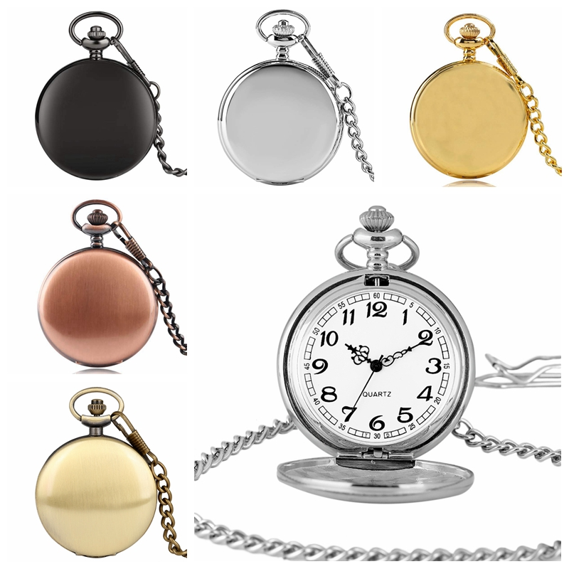 Smooth Retro Black Silver Gold Chain Pocket Watch Cool Gift Necklace Pendant Quartz Women Modern Men Fashion Clock Relojes Male