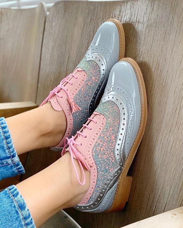 Mulheres flats lace-up sapatos estilo Doce Menina