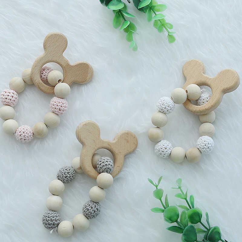 INS Nordic drewniane koraliki ozdoby niedźwiedź niemowlę dziecko dekoracji Chambre Enfant przedszkole namiot ozdoba do powieszenia na ścianie fotografia rekwizyty