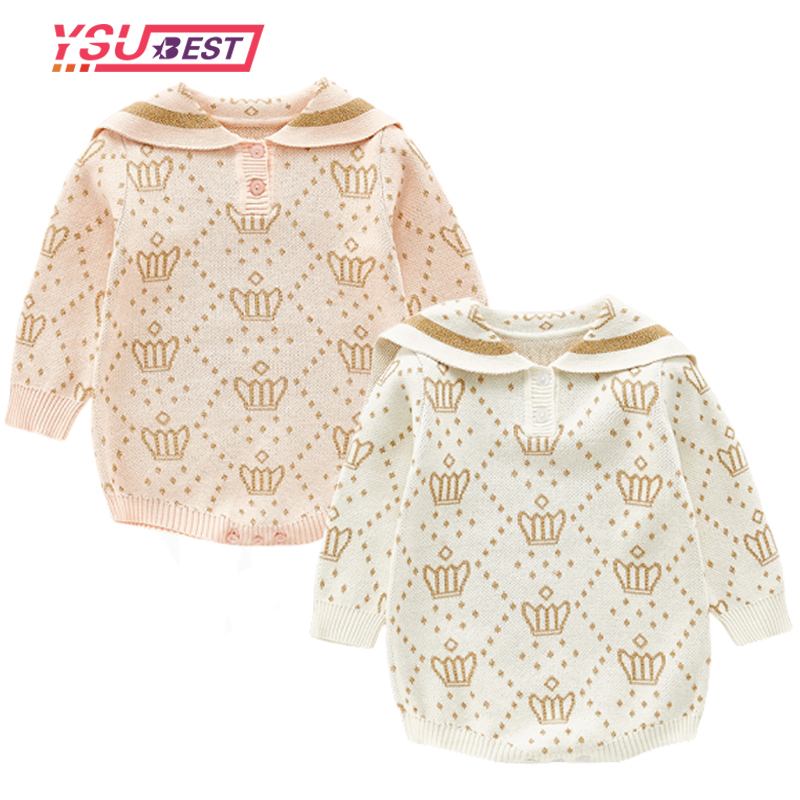 2020 Newborn Baby Girls Boys Knitted Romper Crown Style Baby Clothes Cotton Woolen Baby Rompers Ruffle Infant Baby Boys Jumpsuit image
