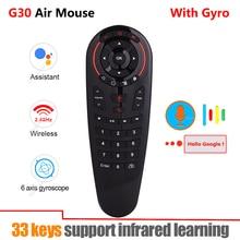 Gyroscope sans fil G30 2.4G, 33 touches, apprentissage IR, télécommande vocale intelligente pour X96 mini H96 MAX, boîtier Android vs G10 G20