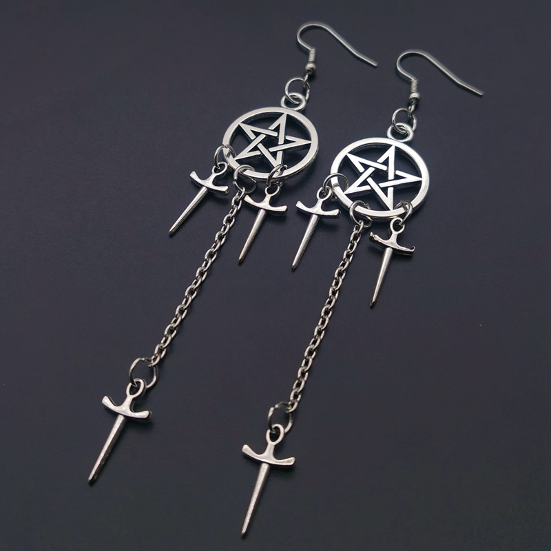 Pentagram Swords Earrings Silver Plated Huggie Hoops Dangle Witchy Jewelry