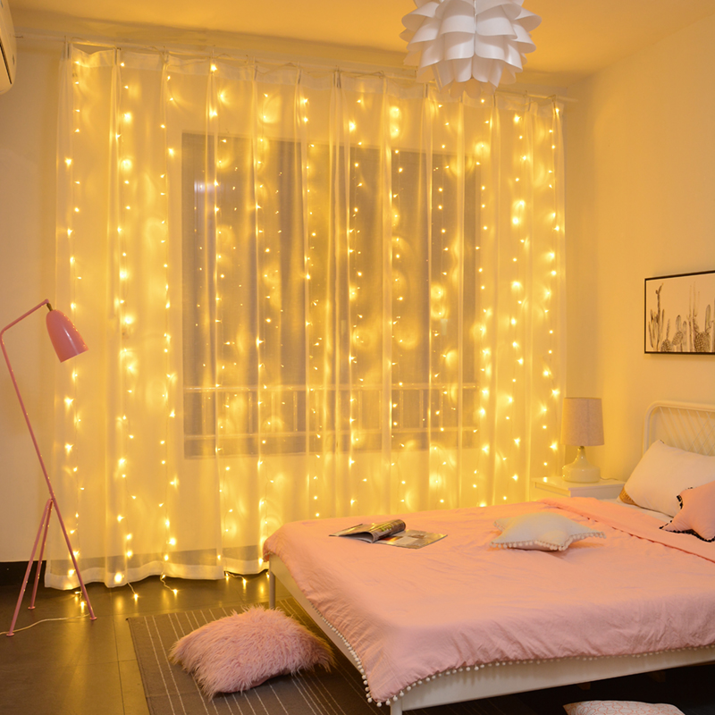 3M X 3M 300 LED String Light Curtain Waterfall Starry Lights String Fairy Holiday Wedding Christmas Decorative Lights