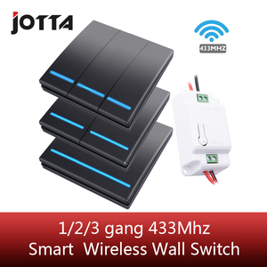 Jotta 1/2/3 gang 433Mhz smart push Wireless Switch Light RF Remote Control 110V 220V Receiver Wall Panel button Ceiling Lamp(China)