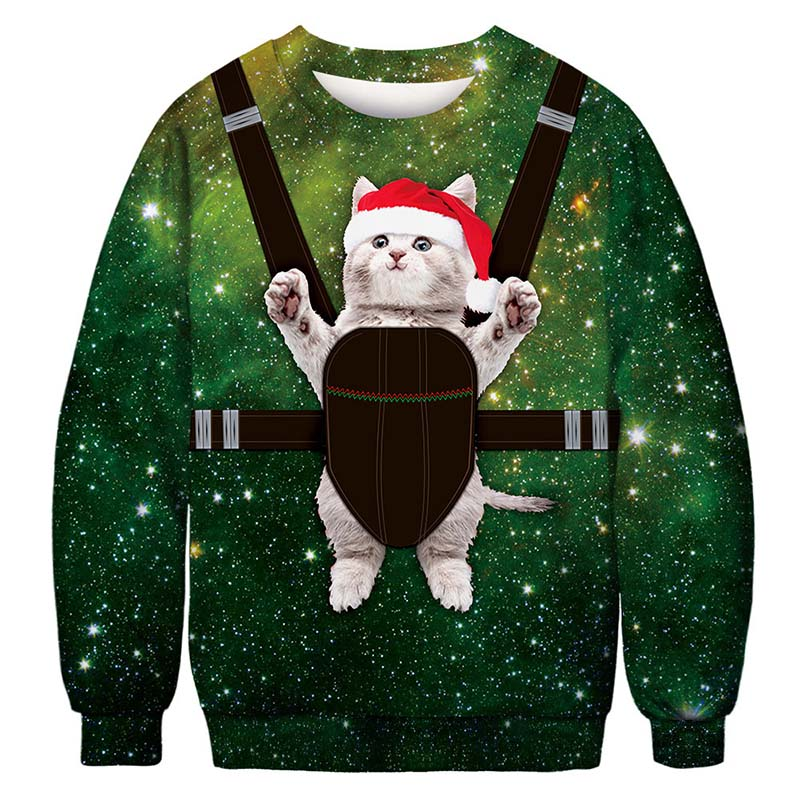 Unisex Men's Women's 2019 Ugly Christmas Sweater Vacation Santa Funny Christmas Cat Jumper Female  Autumn Winter Tops Clothing