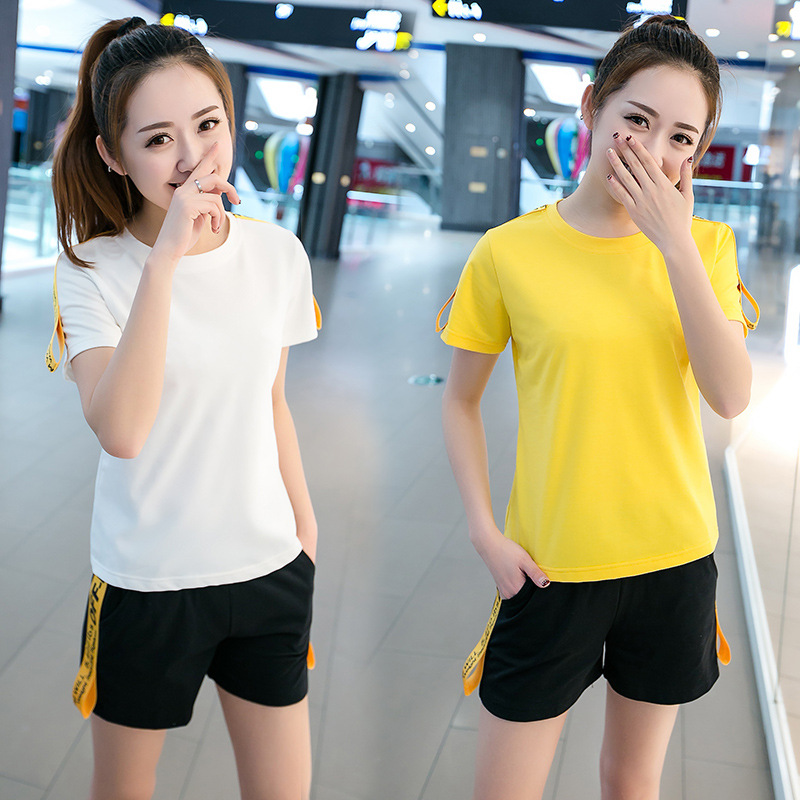 2020 Spring Summer New Style Short Sleeve Short Sleeve WOMEN'S Suit Korean-style Sports Casual Two-Piece Set Sports Clothing