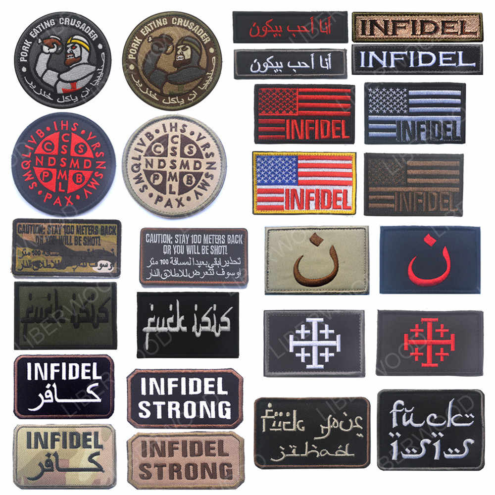 Crusader Infidel Patches Isaf Arabic Army Morale Christian Tactical Bacon Pork Multicam Isis Tactical Swat Cross Badge Patch