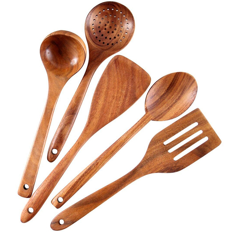 Healthy Cooking Utensils Set Wooden Cooking Tools Natural Nonstick Hard Wood Spatula and Spoons - Durable Eco-Friendly and Safe