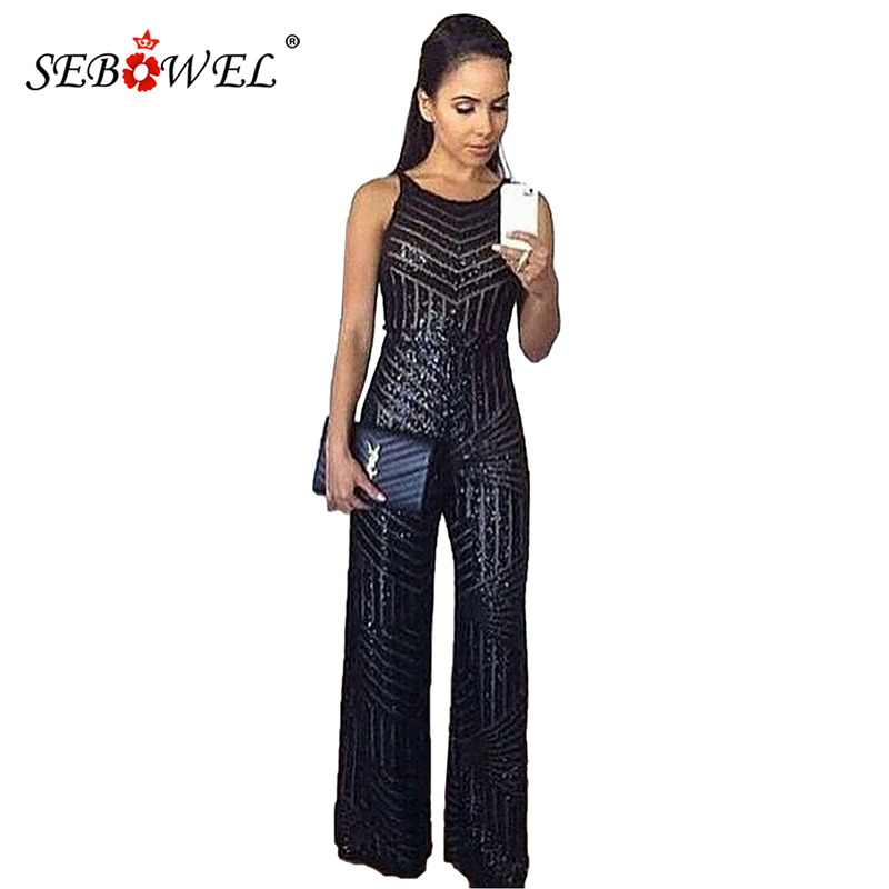 SEBOWEL Geometric Stripe Black/Gold Sequin Jumpsuit Women Sexy Sleeveless Wide Leg Jumpsuit Long Pants Sparkle Female Rompers XL