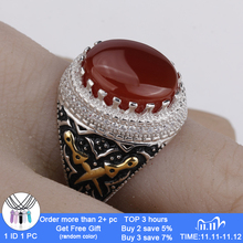 Men Ring Real 925 Sterling Silver Red Stone with Double Sword Clear CZ Finger Ring for Men Fashion Jewelry