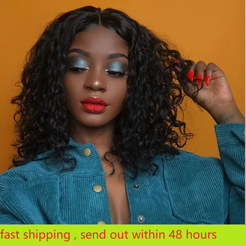 Haever 4x4 Short Lace Closure Human Hair Bob Wigs Water Wave Brazilian Remy Hair Lace Wig Pre Plucked Hairline Human Hair Wigs lace frontal human hair wigs brazilian water wave wig pre plucked natural hairline 150% beaudiva remy 13 4 human hair wigs