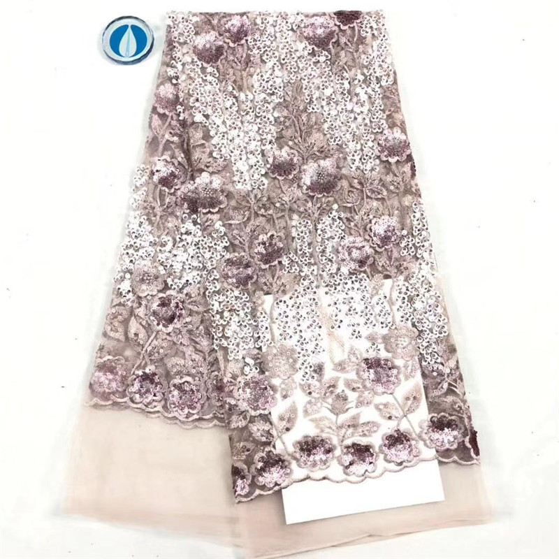 Latest design French Net Lace Fabric, High Quality Elegan Peach African Tulle lace Sequins Nigerian Lace Fabrics Wedding 5Yards