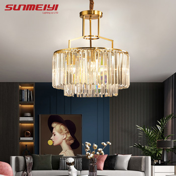 Luxury Crystal Chandeliers Copper Led Lamp For Living room Bedroom Corridor Modern Ceiling Chandelier Lighting lustre cristal modern led chandelier lighting transparent glass bubble ball chandeliers for living room lustre de cristal lustre para sala lamp