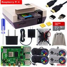 Retroflag nespi 4 caso framboesa pi 4 com ssd caso + cartão 4k hd cabo de vídeo gamepads nespi4 caso para raspberry pi 4 modelo b