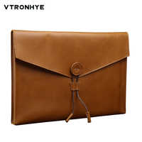 """Leather Laptop Bags for Apple Macbook Air Pro Retina 11 12 13 15.4"""" Vintage Computer Bag Sleeve for MacBook Pro 13 Air 13 Cases"""