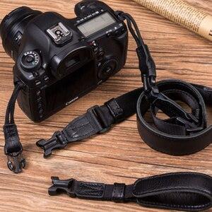 Image 1 - Vintage orijinal el yapımı hakiki deri basit kamera omuz askısı DSLR boyun bilek kayışı kemer için Canon/Nikon/Sony /panasonic