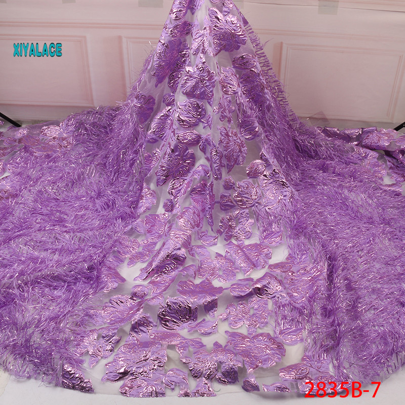 2019 New Arcrivals African Brocade Lace Hot Sale Jacquard With Feathers Tulle Lace Nigeria Net Lace For Wedding Dress YA2835B-7