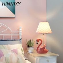 Hinnixy Cartoon Flamingo Table Lamps LED Stand Light Fixture For Children Kids Bedroom Decor Animal Bedside Study Desk Lamps children toy pendant lights kids room to absorb dome light lamps and lanterns cartoon children bedroom light plane led lamps za