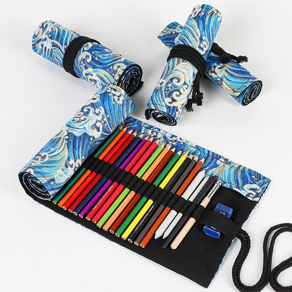 24/36/48/72 Holes Large Capacity Cotton Linen Prinitng Pen Shade Pencil Case For Sketch