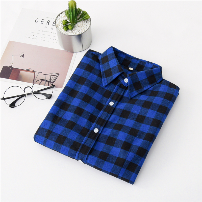 2020 New Women Blouses Brand New Excellent Quality Cotton 32style Plaid Shirt Women Casual Long Sleeve Shirt Tops Lady Clothes 9