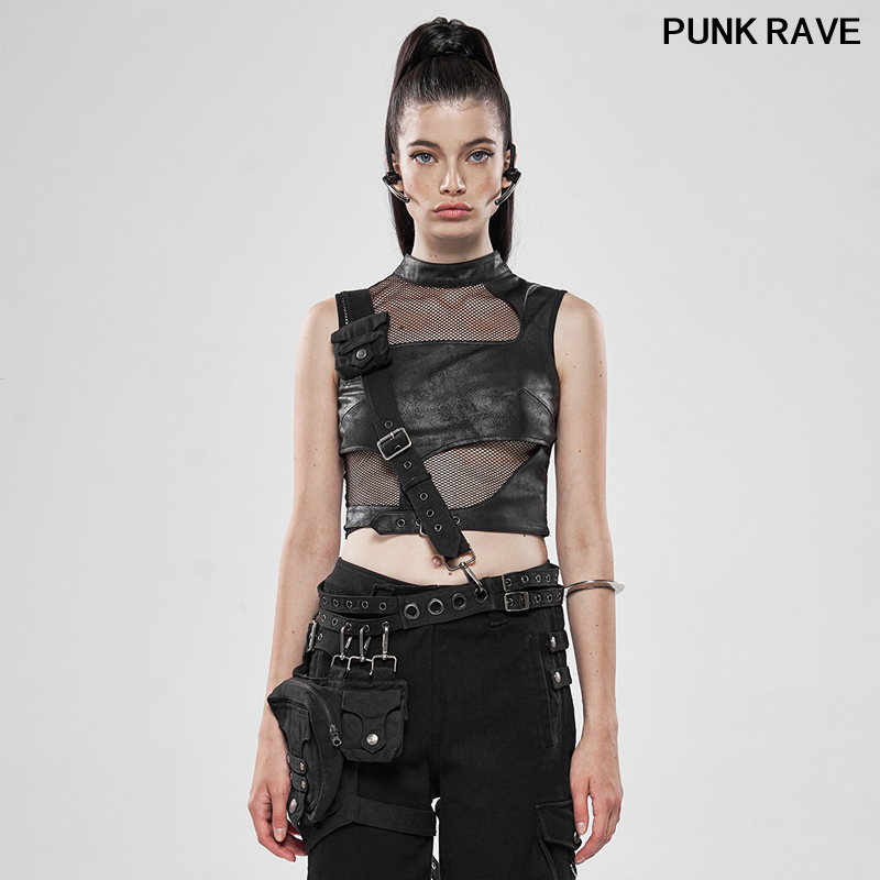 Gothic Heavy Metal Women Waist Bag Classic Pu Leather Personality Sense Adjustable Metal Buckle Belt Bag PUNK RAVE WS-326