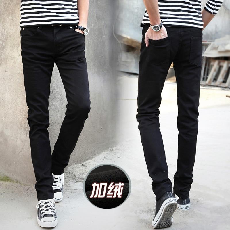 Winter Men Plus Velvet Cowboy Pants Slim Fit Korean-style Thick Couples Skinny Pants MEN'S Wear Pencil Pants Leggings