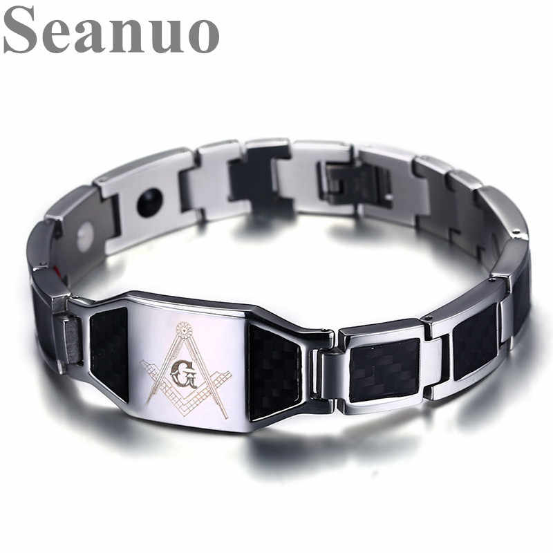 Seanuo Watch Brands Stainless Steel Health Magnetic Bracelet Masonic Carbon Fiber Punk Energy Power Magnet Stone Care Bangles