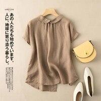 Camicia da donna in cotone e lino con collo a bambola plus size 2021 estate nuova versione coreana di semplice top casual retrò letterario retrò