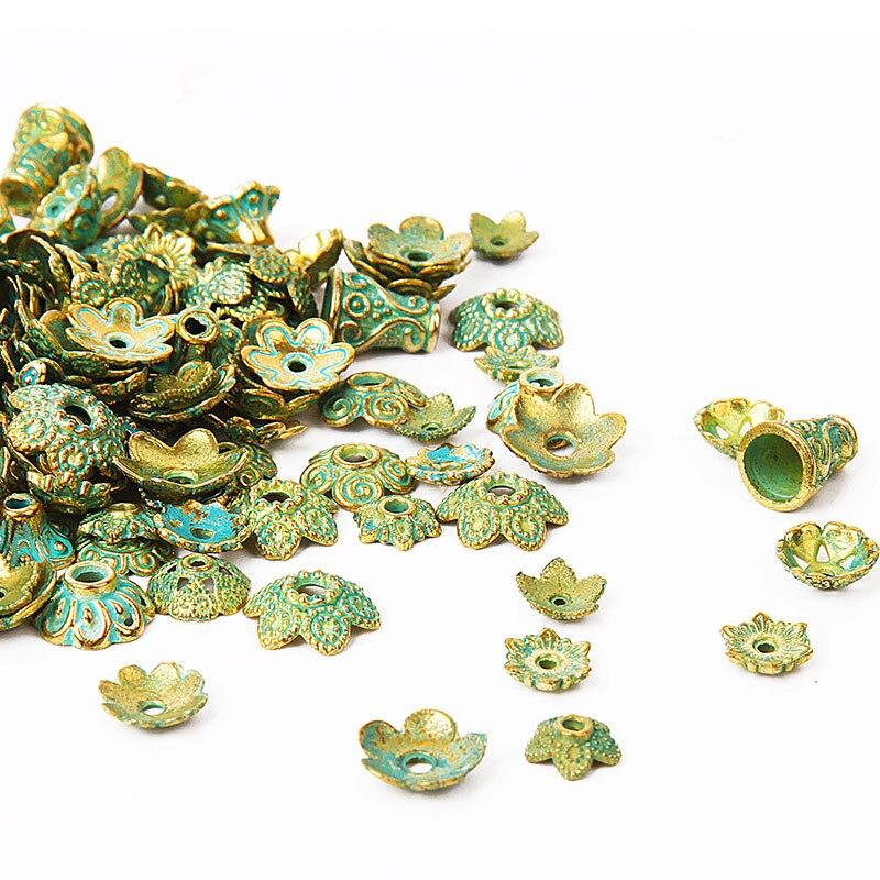 150pcs Retro Metal Beads End Caps Tibetan Antique Brozen Color Green Bead Caps For Jewelry Making Diy Findings Fit 4-15mm