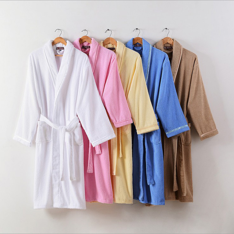 Unisex Summer Terry Robe Women Pure Cotton Bathrobe Lovers Blue Robes Men Bathrobe Solid Towel Long Robe Sleepwear Plus Size XXL