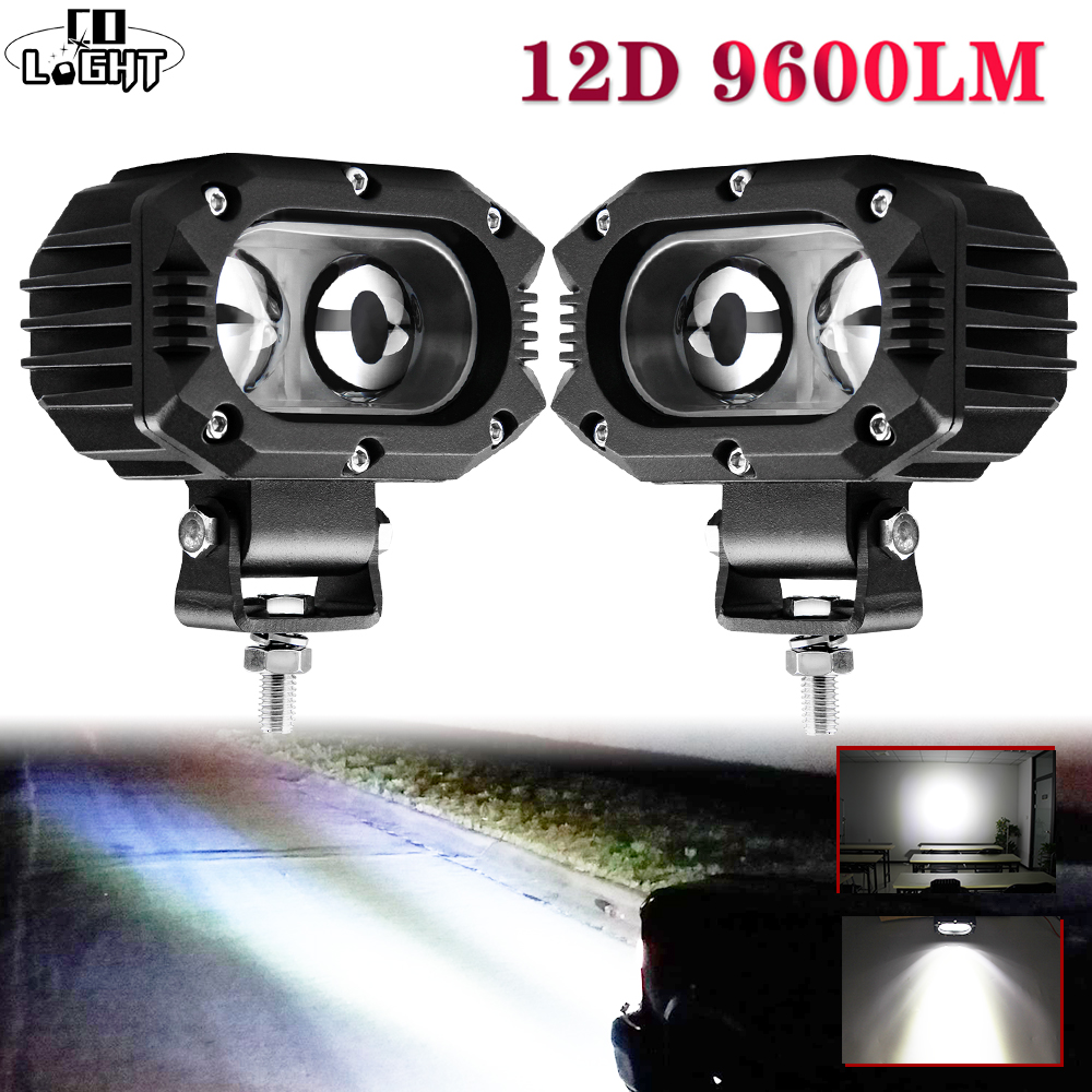 """CO LIGHT 12D Car Led Work Light Bar 4"""" 96W Spot Flood Beam LED Work Lamp For Motocycle Niva SUV Trucks Boat 4x4 Led Bar 12V 24V"""