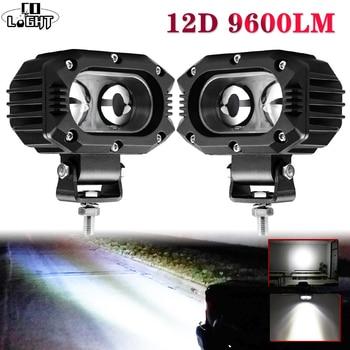"""CO lumière 12D voiture LED travail barre lumineuse 4 """"96 W Spot faisceau d'inondation lampe de travail LED pour moto Niva SUV camions bateau 4x4 barre de LED 12V 24V"""