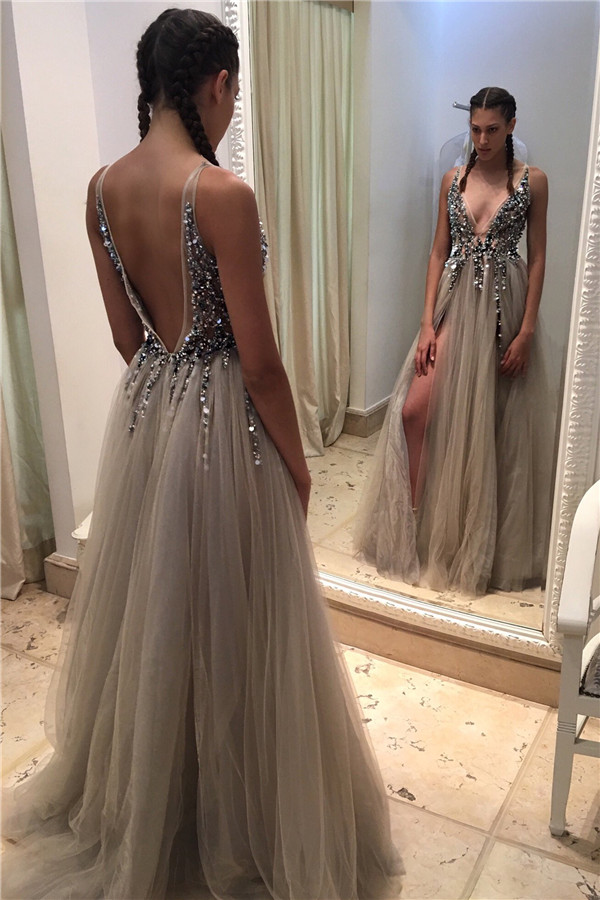 2018 Sexy Silver Gray Deep V Neck Illusion Bodice Sequins Beaded Tulle Split Backless Party Prom Gown Bridesmaid Dresses