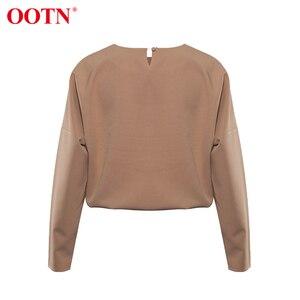 Image 5 - OOTN gündelik haki uzun kollu gömlek bayanlar O boyun katı ofis bluzlar 2020 moda İlkbahar yaz bayan üstleri ve bluzlar kahverengi