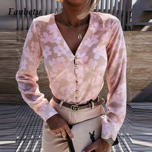 2021 Spring Summer Fashion Sexy V-Neck Metal Button Shirt Women Elegant Floral Print Tops Office Lady Long Sleeve Casual Blouse