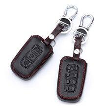 3/4 przycisk prawdziwej skóry obudowa kluczyka do samochodu pokrowiec do Kia Rio QL Sportage Ceed Cerato Sorento K2 K3 K4 K5 Fin breloczek obudowa kluczyka do samochodu
