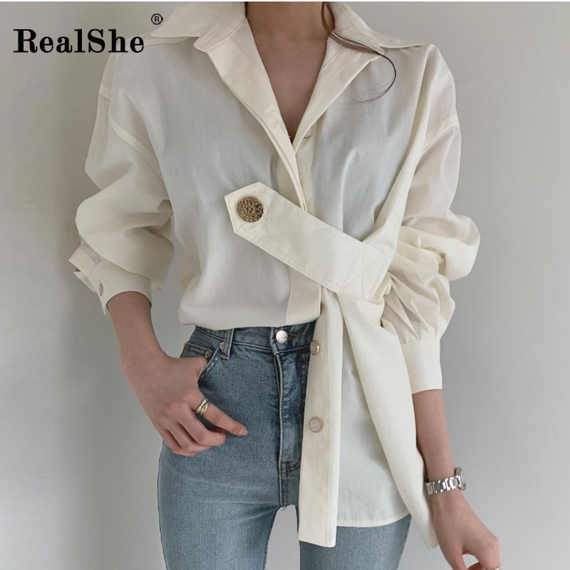 RealShe Blouses Woman 2019 Turn-down Collar Long Sleeve Buttons Solid Womens Shirt Ladies Autumn Winter Tops And