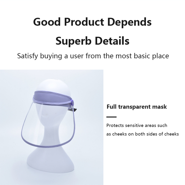 New Protective Cap Anti-droplet Saliva Hair Ring Face Shield HD Transparent Head-mounted Mask Empty Top Hat 4