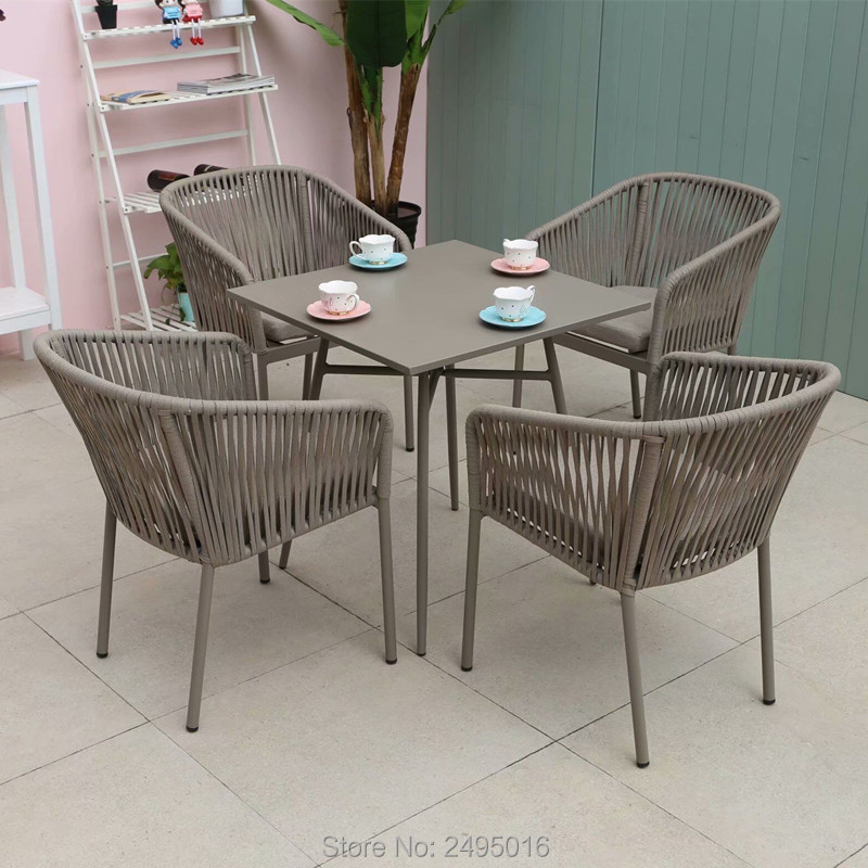 5-piece Patio Woven Rope Furniture Dining Set Garden Chat Set Table And Chairs With Cushions All Weather