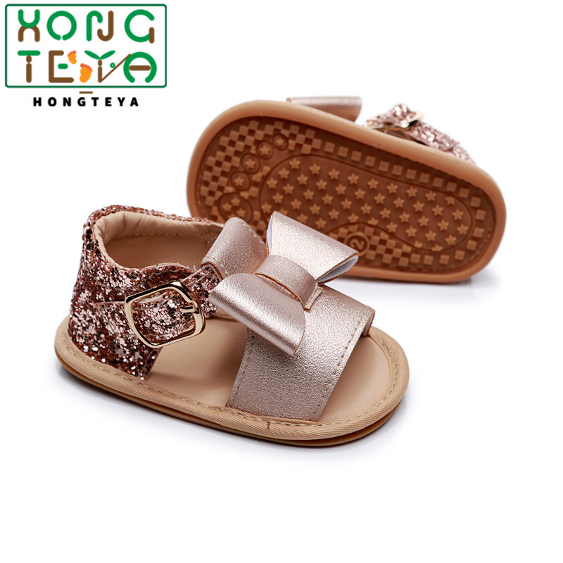 Summer Baby Kids Girl Sandals Prewalker Newborn PU Leather Hard Sole Crib Shoes Bowknot Sequins Toddler Shoes 0-24M