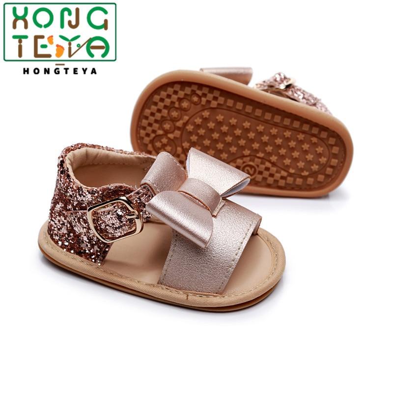 Summer Baby Kids Girl Sandals Prewalker Newborn PU Leather Hard Sole Crib Shoes Bowknot Sequins Toddler Shoes 0-24M