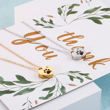316l stainless steel animal paw charm necklace gold silver tone hollow out lovely cat dog print paw pendant long chain necklace Cute Animal Paw Pendant Necklace For Women Stainless Steel Chocker Necklace Hollow Out Gold Color Charm Fashion Jewelry Gift