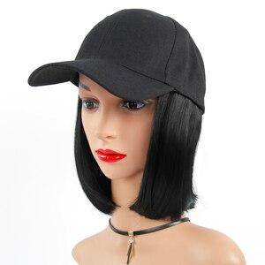 Image 2 - Peruka syntetyczna czapka z daszkiem z krótkimi prostymi peruki blond dla kobiet kobiece włókno termoodporne krótkie peruki