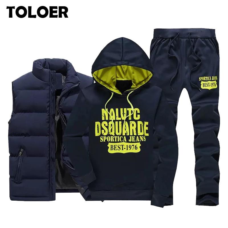 Tracksuit Men Vest Hoodies Coat Sportswear Sweatpants Fleece Warm Zipper Winter 3pieces